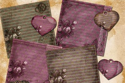 Vintage Rose Digital Scrapbooking Paper