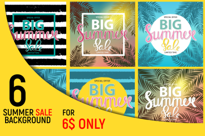 Collection of 6 Summer Sale Natural Background Design For Your Business. Vector Illustration and Raster Version