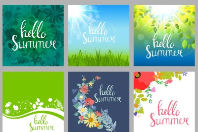 Collection of 6 Hello Summer Natural Background Design For Your Business. Vector Illustration and Raster Version  You can use them to change and suppl