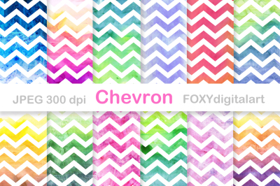 Watercolor Chevron Digital Paper Scrapbook