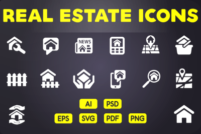 Glyph Icon: Real Estate Icons