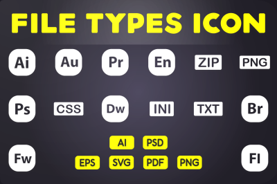 Glyph Icon: File Types Icons