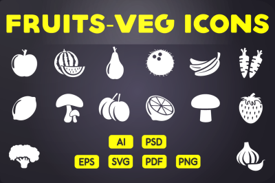 Fruits & Vegetables Icons Vol.1