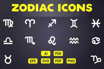 Glyph Icon: Zodiac Icons