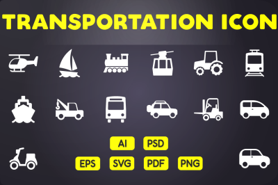 Glyph Icon: Transportation Icons