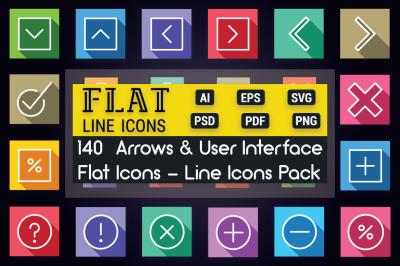 User Interface and Arrows Flat Icons