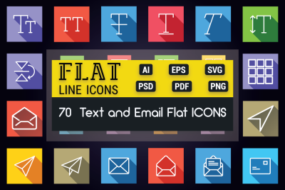 Text and Email Flat Line Icons
