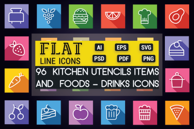 Foods - Drinks & Kitchen Flat Icons