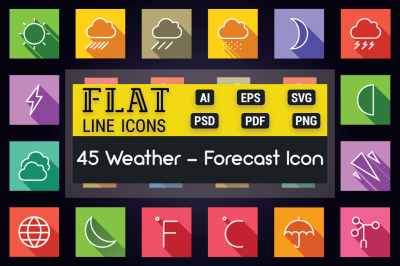Weather and Forecast Flat Line Icons