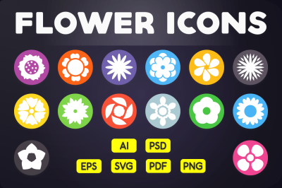Flat Icon: Flower Icons