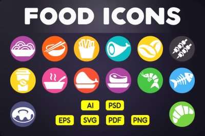 Flat Icon: Food Icons Vol.1