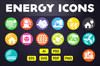 Flat Icon: Energy Icons Vol.1