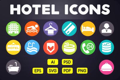 Flat Icon: Hotel Icons