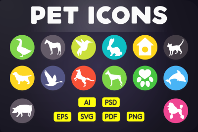 Flat Icon: Pet Animal Icons Vol.2