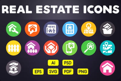 Flat Icon: Real Estate Icons