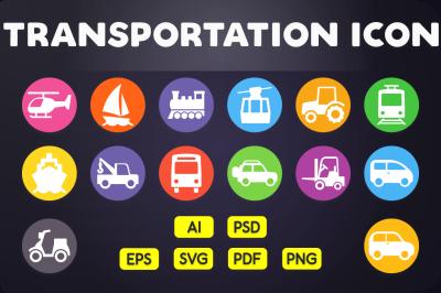 Flat Icon: Transportation Icons