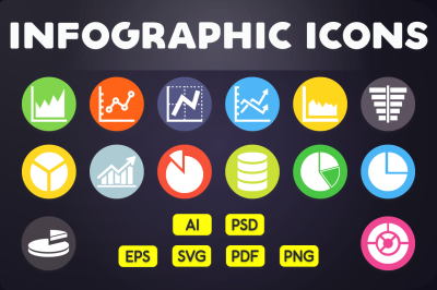 Flat Icon: Graph & Chart Icons