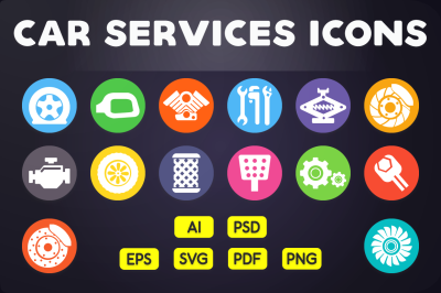 Flat Icon: Car Services Icons Vol. 1