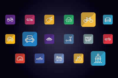 Transport Vehicle Auto Service Icons