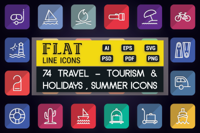 Travel and Tourism Flat Line Icons