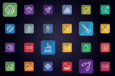 Sports, Games & Fitness Flat Icons