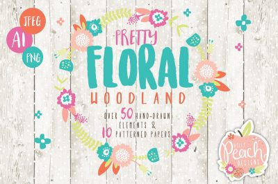 Floral Woodland Animals Digital Clipart Pack
