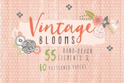 Vintage Blooms Floral Clipart and Paper Pack