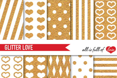 Golden Glitter Digital Paper Pack Gold background