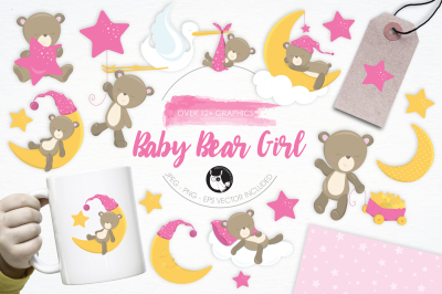 Baby Bear Girl graphics and illustrations