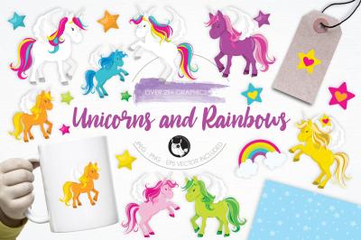 Unicorns and Rainbows graphics and illustrations