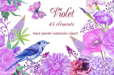watercolor clipart 45 elements ,violet flowers design