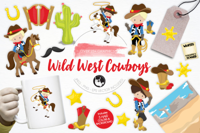 Wild West Cowboys graphics and illustrations