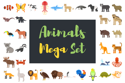 Mega set of flat animals