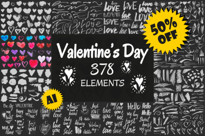 Valentine's Day Pack. 378 elements.