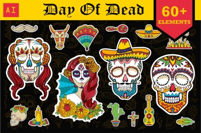 Day of Dead. 60+ vector elements.