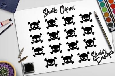 Skull Silhouette Clipart Halloween Clip Art