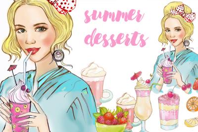 girl and desserts. illustration