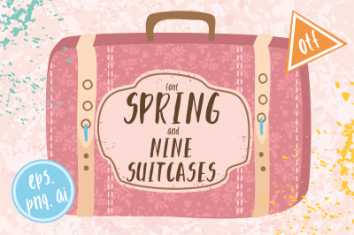 Spring font / 9 suitcases