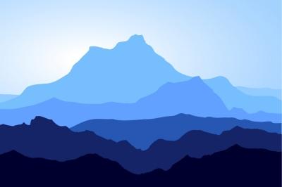 Huge blue mountains set. Vector.