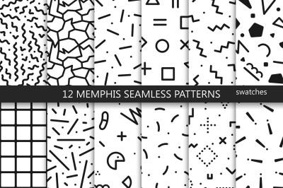 Memphis seamless patterns. Trend 80s