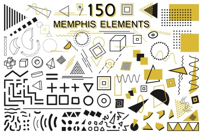 Memphis geometric elements set.