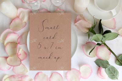 Table card Mockup with a Rose. PSD+JPG