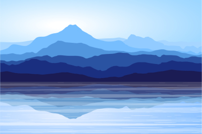 Blue Mountains and Sea. Vector Landscape.