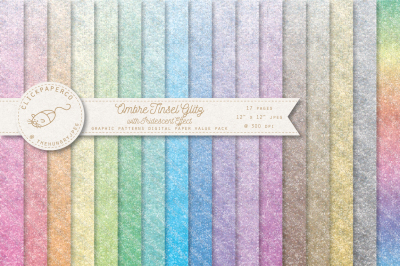 Ombre Tinsel Glitter Rainbow Digital Paper Value Pack