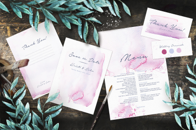 Invitation watercolor splashes