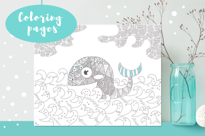 5 Coloring pages.  Whale, volcano, ship, mountains, rocket