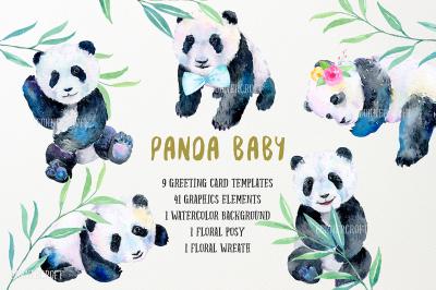 Watercolor Design Kit Panda Baby