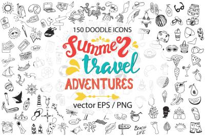 150 Big doodle icons and design elements ClipArt, Summer, travel, adventures desine elements