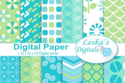 Digital Scrapbook Papers, Aqua & Green
