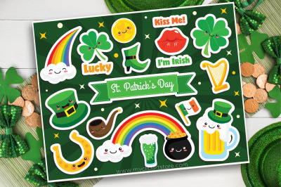 St Patrick Clipart, Stickers, Leprechaun, Vector, Sublimation, SVG